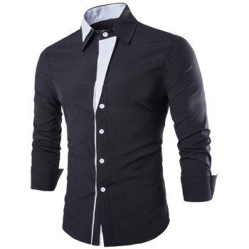 Slimming Shirt Collar Stylish Irregular Color Block Splicing Long Sleeve Men's Cotton Blend Shirt