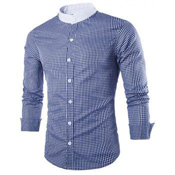 Slimming Stand Collar Fashion Tiny Checked Splicing Long Sleeve Men's Cotton Blend Shirt