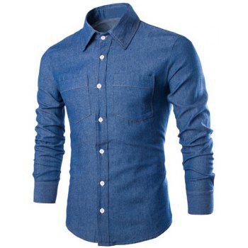 Slimming Shirt Collar Vouge Solid Color Double Pockets Long Sleeve Men's Denim Shirt