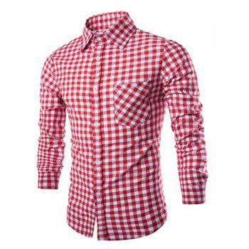 Slimming Shirt Collar Stylish Simple Color Block Checked Long Sleeve Men's Cotton Blend Shirt