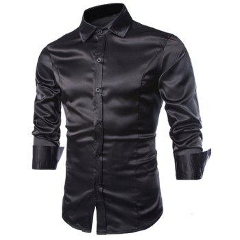Slimming Shirt Collar Trendy Splicing Design Solid Color Long Sleeve Men's Cotton Blend Shirt