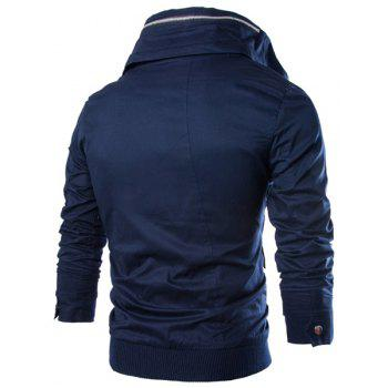 Slimming Stand Collar Vogue Multi-Pocket Zipper Design Long Sleeve Cotton Blend Men's Jacket - CADETBLUE M