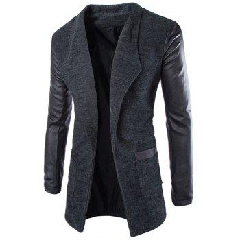 Slimming Lapel Stylish Large Pocket PU Leather Splicing Long Sleeve Woolen Blend Men's Trench Coat - DEEP GRAY 2XL