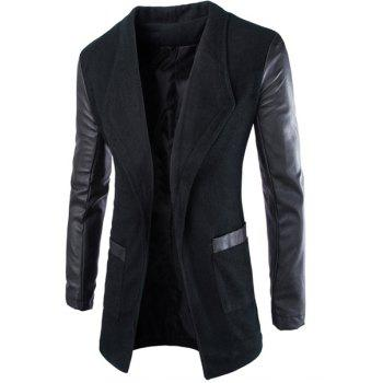 Slimming Lapel Stylish Large Pocket PU Leather Splicing Long Sleeve Woolen Blend Men's Trench Coat