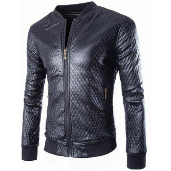 Slimming Stand Collar Fashion Argyle Design Rib Splicing Long Sleeve Men's PU Leather Coat