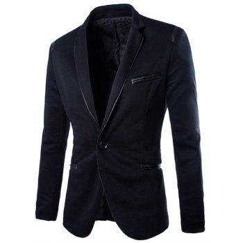 Slimming Lapel Trendy Pocket Design PU Leather Edging Long Sleeve Polyester Men's Blazer