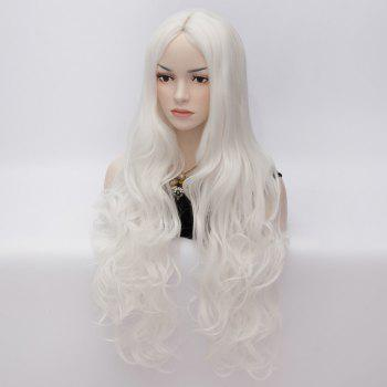 Sophisticated Long Stylish Wave Heat Resistant Synthetic Women's Capless Wig - WHITE