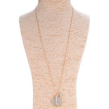 Sweet Cute Rhinestone Round Heart Sweater Chain Necklace For Women - LIGHT GOLD LIGHT GOLD
