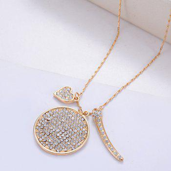 Sweet Cute Rhinestone Round Heart Sweater Chain Necklace For Women -  LIGHT GOLD