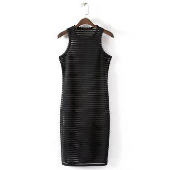 Alluring Sleeveless Round Neck See-Through Solid Color Women's Dress