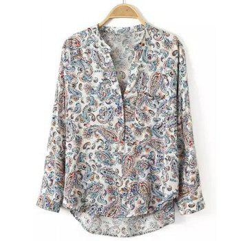 Stylish V-Neck Long Sleeve Printed High-Low Hem Women's Blouse