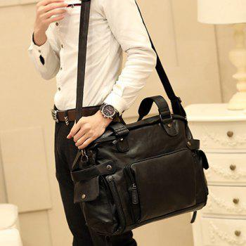 Simple Black and Rivets Design Messenger Bag For Men - BLACK