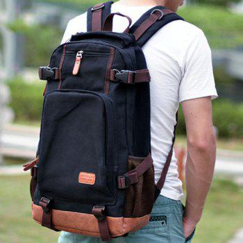 Fashionable Buckles and Color Block Design Backpack For Men -  BLACK