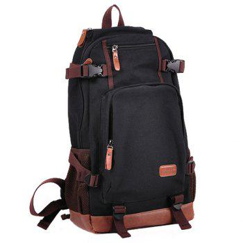 Fashionable Buckles and Color Block Design Backpack For Men - BLACK BLACK