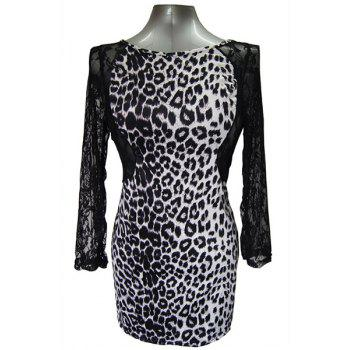 Sexy Round Collar Long Sleeve Leopard Print Cut Out Women's Dress