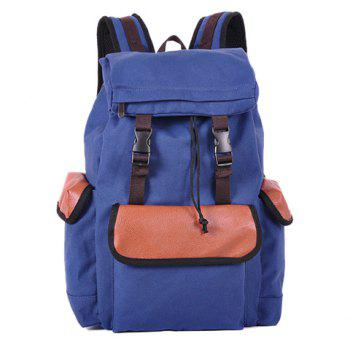 Fashion Splice and String Design Backpack For Men