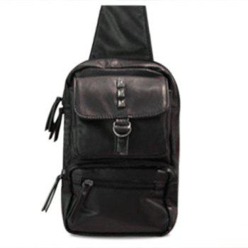 Fashionable Belt and Rivets Design Messenger Bag For Men - BLACK BLACK