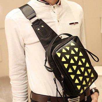 Fashion Style Engraving and Zipper  Design Messenger Bag For Men - GREEN