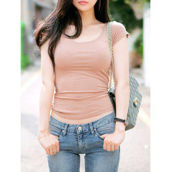 Stylish Scoop Collar Short Sleeve Lace-Up Pure Color Women's T-Shirt