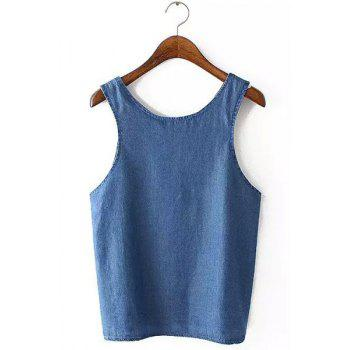 Casual Sleeveless Scoop Neck Bleach Wash Pure Color Women's Tank Top