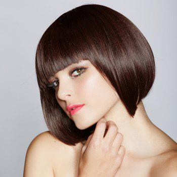 Charming Brown Sweet Bob Heat Resistant Fiber Short Capless Straight Full Bang Wig For Women