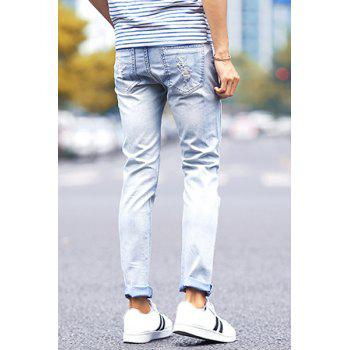 Stylish Narrow Feet Zipper Fly Hole and Color Lump Design Fitted Men's Denim Nine Minutes of Pants - LIGHT BLUE 31