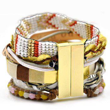 Retro Ethnic Beads Weaved Bracelet For Women - COLORMIX