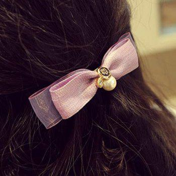 Sweet Faux Pearl Bow Hairgrip For Women - PURPLE PURPLE