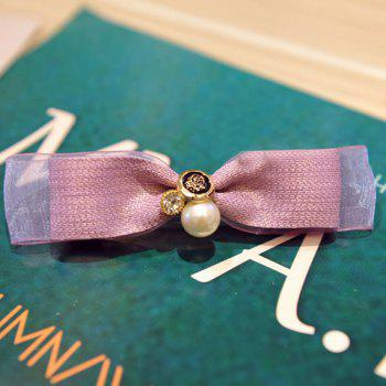 Sweet Faux Pearl Bow Hairgrip For Women -  PURPLE