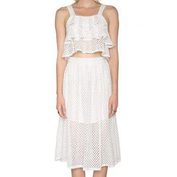 Fashionable Multi-Layered Flounce Tank Top + Openwork Skirt For Women