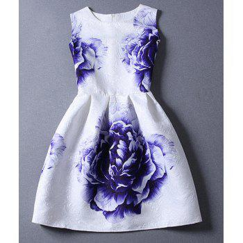 Ladylike Printed Round Collar Sleeveless Dress For Women