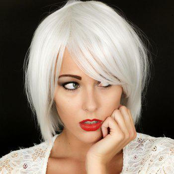 Heat Resistant Synthetic Shaggy Short Fashion Inclined Bang Straight Capless Silvery White Women's Wig