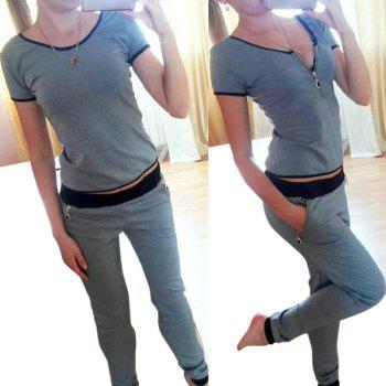 Stylish Short Sleeve Scoop Neck Convertible T-Shirt + Elastic Waist Pants Women's Twinset