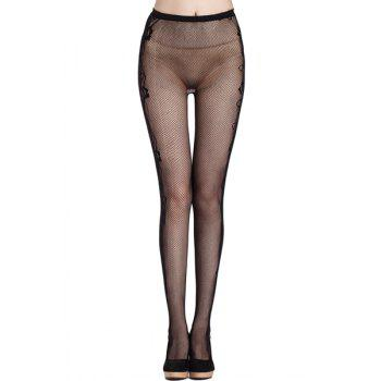 Sexy Rose Side Pattern Small Mesh Women's Elastic Pantyhose - BLACK BLACK