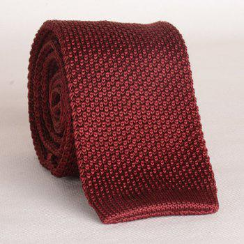 Stylish Wine Red Men's Knitted Neck Tie - WINE RED WINE RED