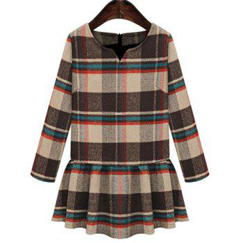 Stylish Scoop Neck Checked Print Plus Size Long Sleeve Women's Dress