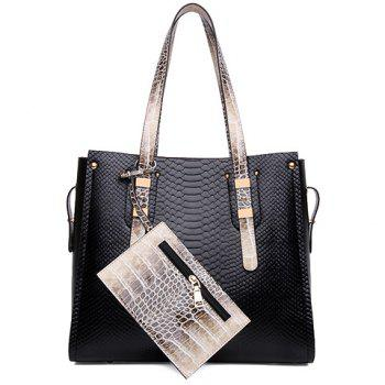 Gorgeous Color Block and Snake Print Design Shoulder Bag For Women