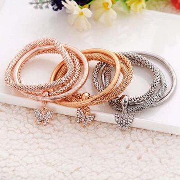 Delicate Chic Rhinestone Butterfly Layered Bracelet For Women