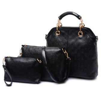 Stylish PU Leather and Argyle Design Tote Bag For Women - BLACK BLACK