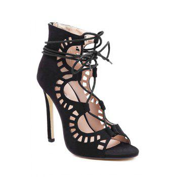 Sexy Suede and Hollow Out Design Stiletto Heel Women's Sandals - BLACK BLACK