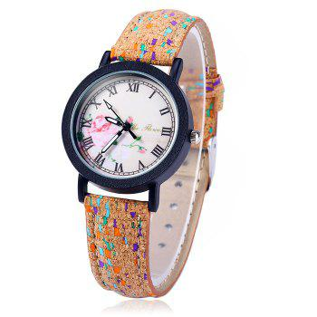 Weesky Retro Flower Dial Quartz Watch with Leather Band for Women