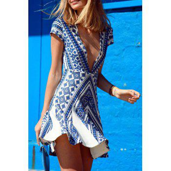 Stylish Blue Cap Sleeve Deep V Neck Vintage Print Women's Dress - AS THE PICTURE M