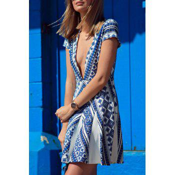 Stylish Blue Cap Sleeve Deep V Neck Vintage Print Women's Dress - M M