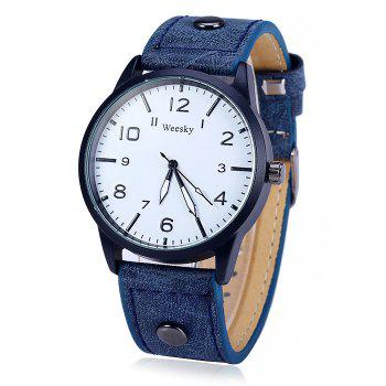 Weesky 1203G Arabic Numerals Scales Male Quartz Watch with Leather Band - BLUE BLUE