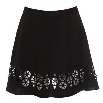 Chic Zippered Solid Color Hollow Out A-Line Women's Skirt - BLACK XL