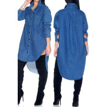 Stylish Shirt Collar High-Low Hem Single-Breasted Long Sleeve Denim Blouse For Women