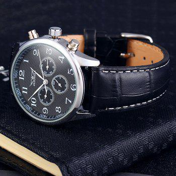 Jaragar A458 Men Leather Band Automatic Mechanical Watch with Three Working Sub-dials - BLACK BLACK