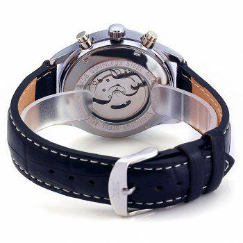 Jaragar A458 Men Leather Band Automatic Mechanical Watch with Three Working Sub-dials - BLACK