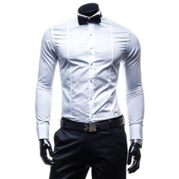 Slimming Shirt Collar Stylish Classic Solid Color Long Sleeve Polyester Men's Formal Shirt(with Tie)