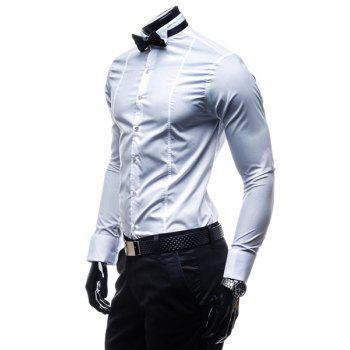 Slimming Shirt Collar Stylish Classic Solid Color Long Sleeve Polyester Men's Formal Shirt(with Tie) - WHITE M